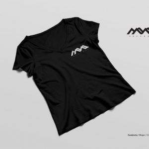 camiseta techno girl, mona records, blanco y negro