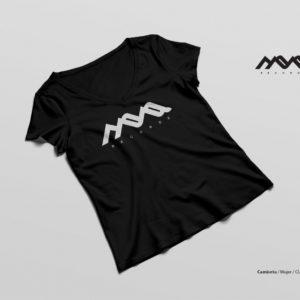camiseta techno girl, mona records, blanco y negro